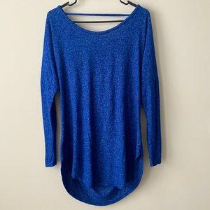 Evereve Sapphire Sitka Drape Back Pullover NWT